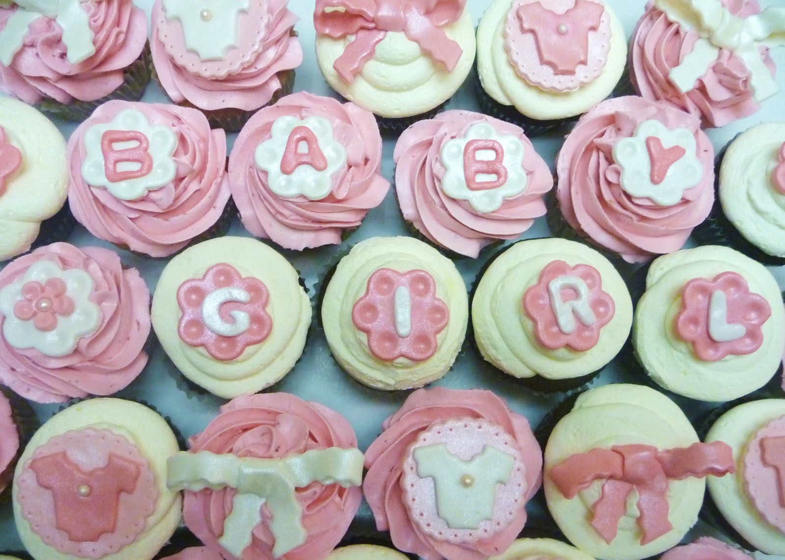 pure delights baking co baby girl shower cupcakes