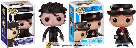 Bonecos Funko Pop Mary Poppins e Edward Mãos-de-Tesoura