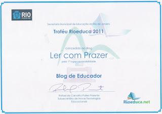 Prêmio  do Blog Ler com Prazer