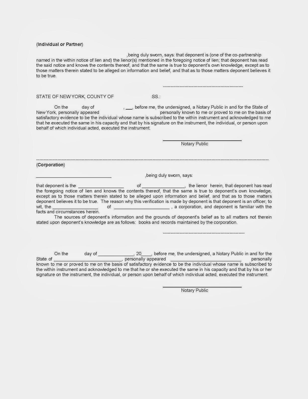 New York Mechanics Lien Free Sample New York Mechanics Lien Form – Sample Lien Release Form
