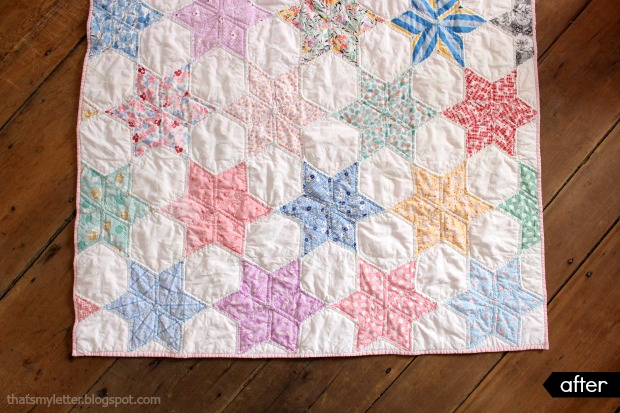 vintage quilt with new quilting