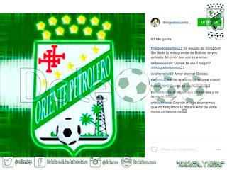 Oriente Petrolero - Escudo de Oriente Petrolero - Thiago dos Santos - Instagram - DaleOoo.com web del Club Oriente Petrolero