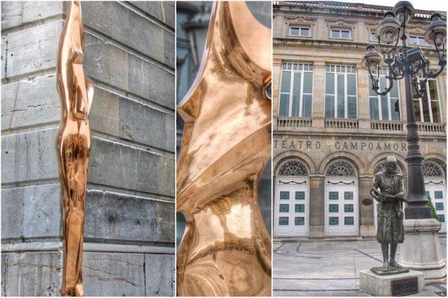 Esculturas La bailarina de Santiago de Santiago y Esperanza caminando de Julio Lopez Hernandez en Oviedo