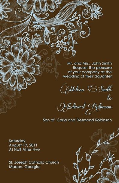 elegant and beautiful wedding invitations for free  blue and brown wedding invitations