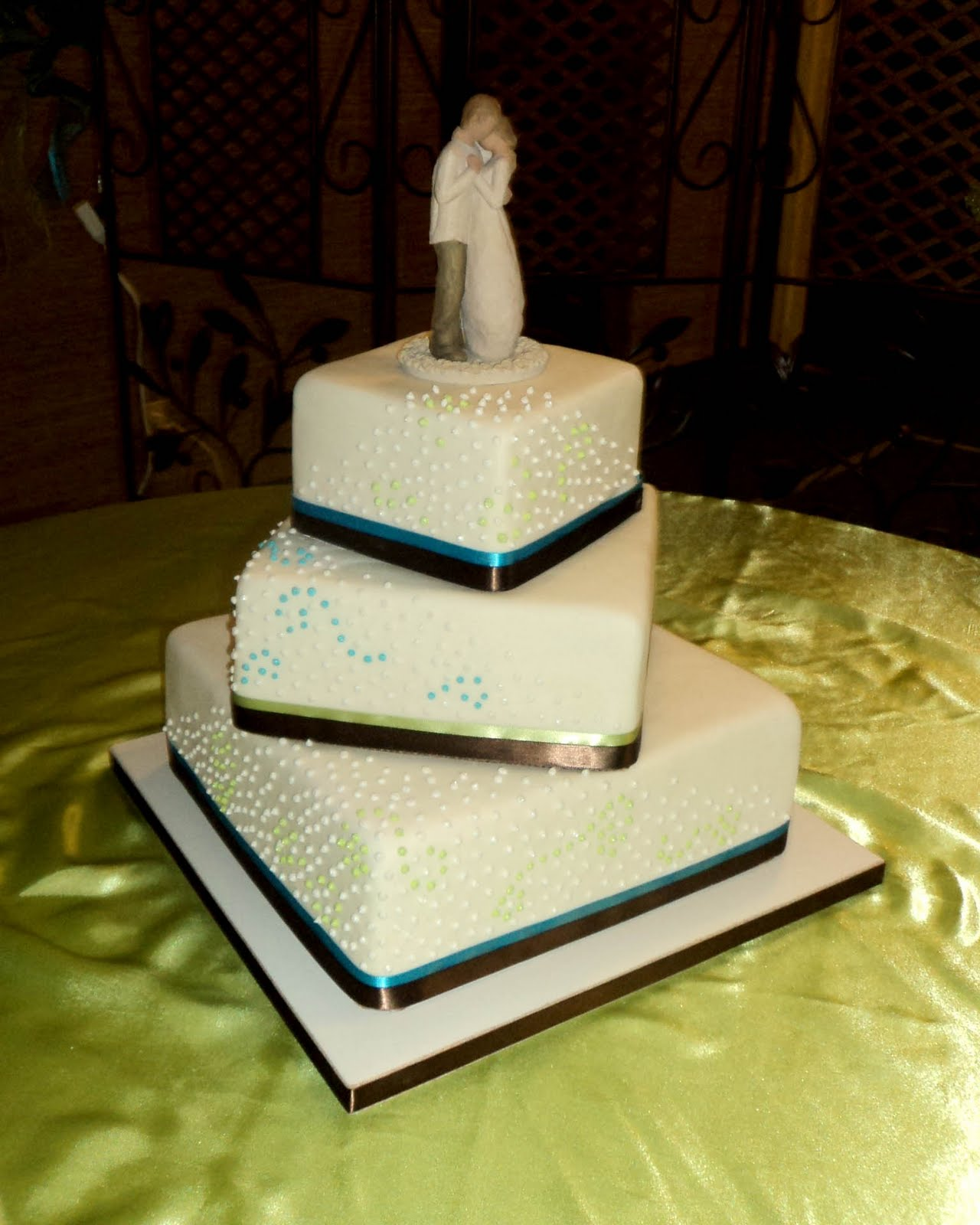 Delectable Cakes Blue and Green Wedding Cake
