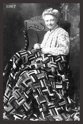 Woman with velvet quilt in 1907