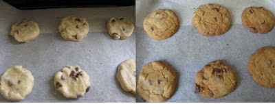 Cookies before and after baking