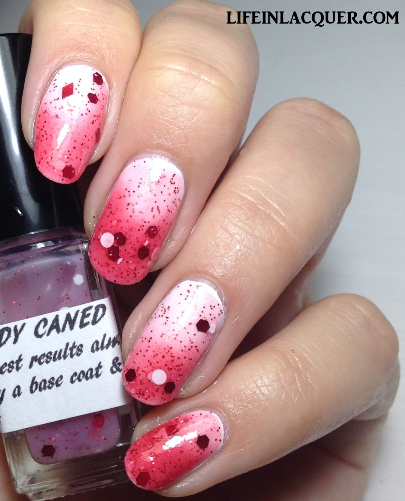 laquerdaisical Candy Caned swatch and review indie polish uk thermal