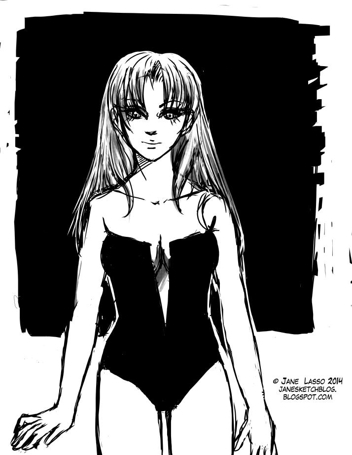 Sketch de mujer en manga studio 4
