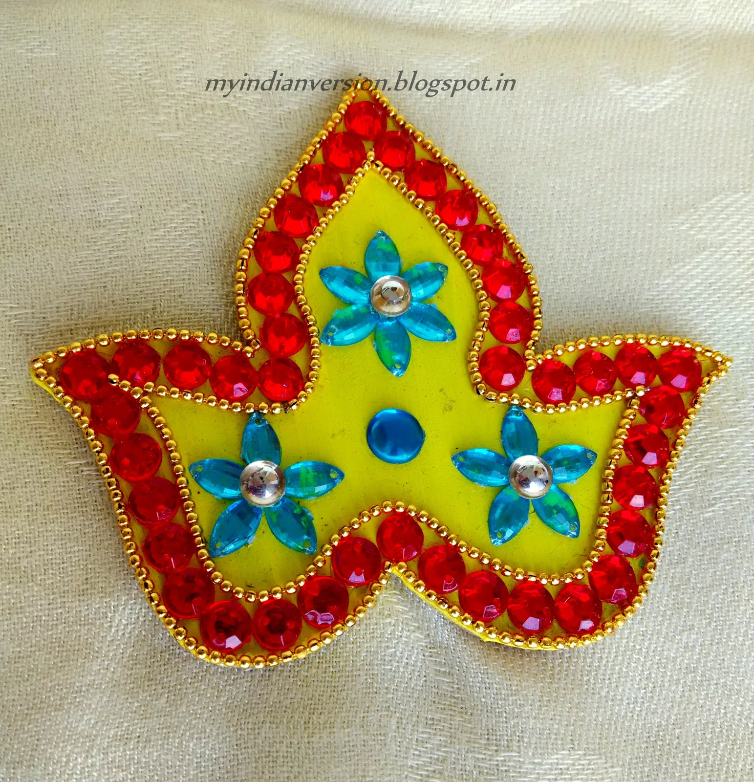 My indian version diwali series part 3 kundan rangoli for Home made rangoli designs