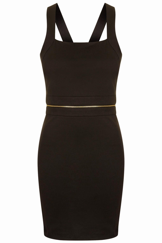 black zip strappy dress