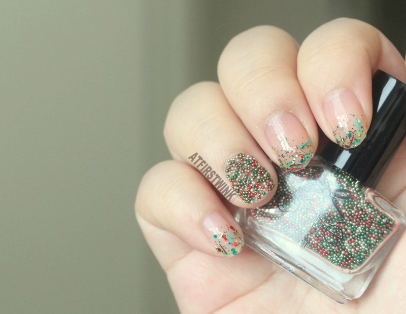 Ciaté caviar pearls christmas tree caviar and Sparkly Christmas three from the Etude House If Story nail kit 3 from far