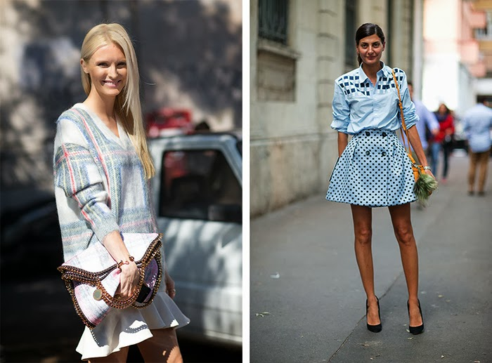 street style fashion week spring 2014, pastels, tartan, pois