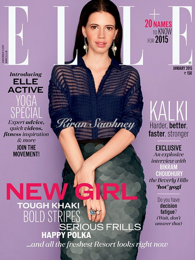 Kalki in Elle India cover in Burberry