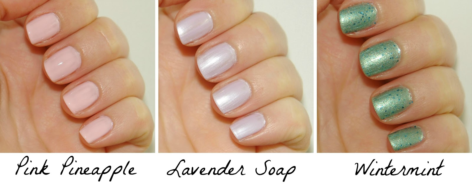 My Revlon Parfumerie nail polishes, Pink Pineapple, Lavender Soap, Wintermint, nail polish, nails, Revlon, NOTD, swatches, nail swatches, UK blogger, beauty, nail art