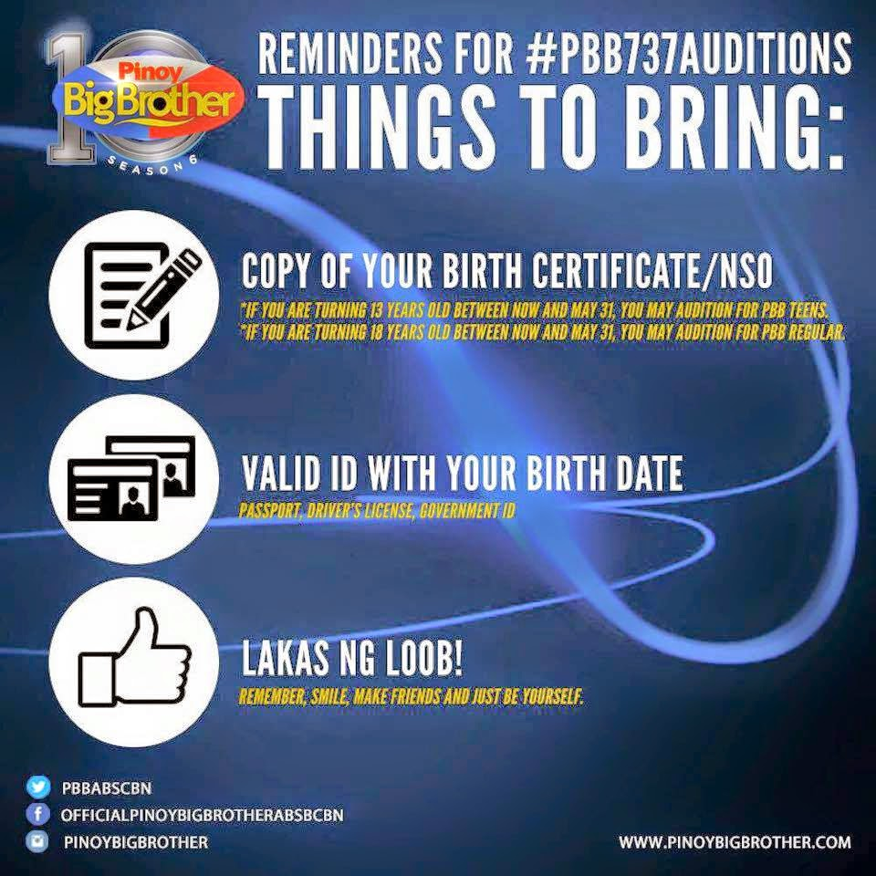 PBB Gensan Auditions Requirements
