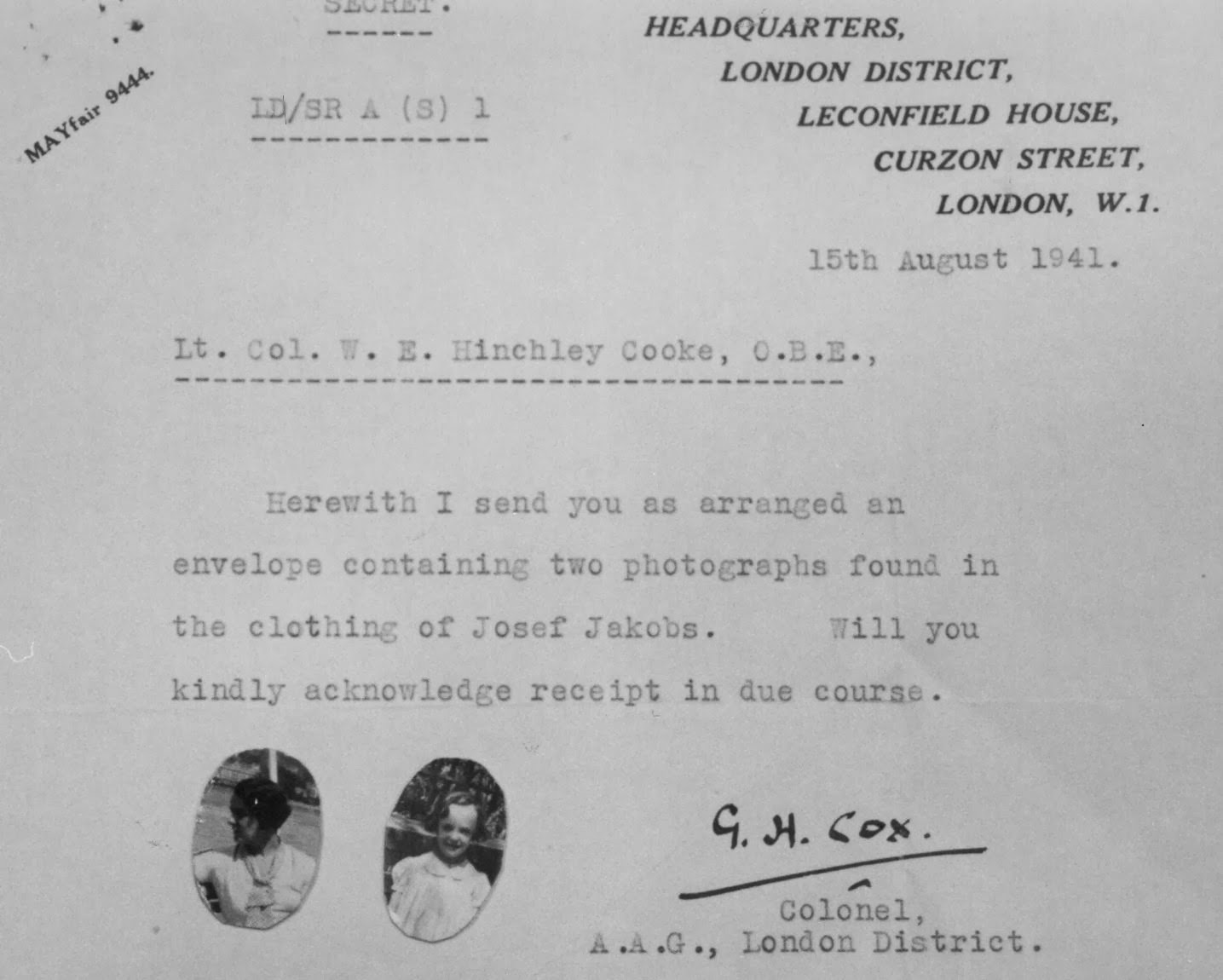 Letter acknowledging the discovery of photographs in the clothing  of Josef Jakobs.