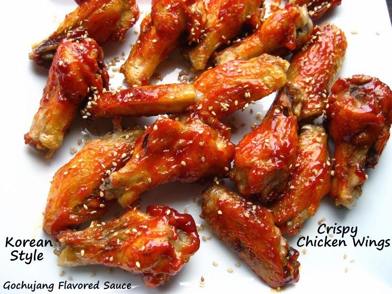 crispy parboiled baked chicken wings(i)... with korean sauce and bonus chicken stock.
