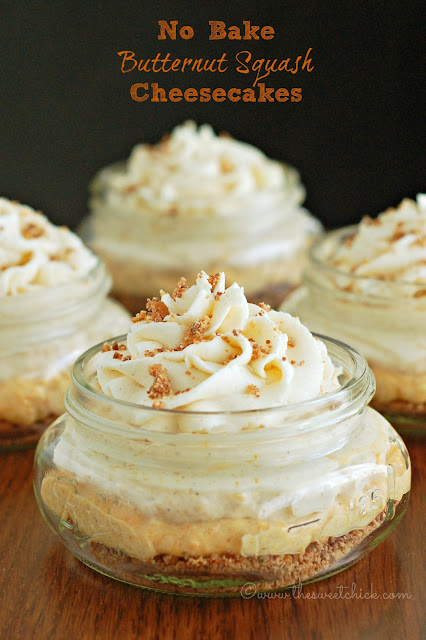 No Bake Butternut Squash Cheesecakes by The Sweet Chick
