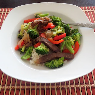 Beef Broccoli and Pepper Stir Fry:  A traditional beef and broccoli stir fry with added color, texture, flavor, and vitamin C of bell peppers.