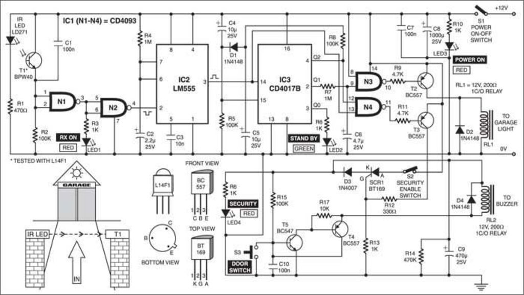 garage light and security control schematic diagram