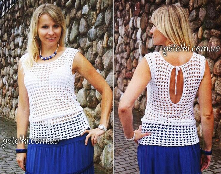 Patrones de blusa sin mangas ganchillo