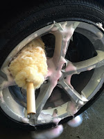 Cleaning Wheels with a Wheel Brush by Jax Wax 