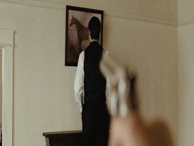 The killing scene, Robert Ford shots Jesse James in the back of the head, The Assassination of Jesse James by the Coward Robert Ford, Directed by Andrew Dominik