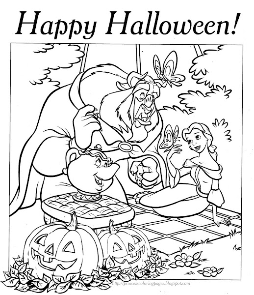 Disney Princess Halloween Coloring Pages