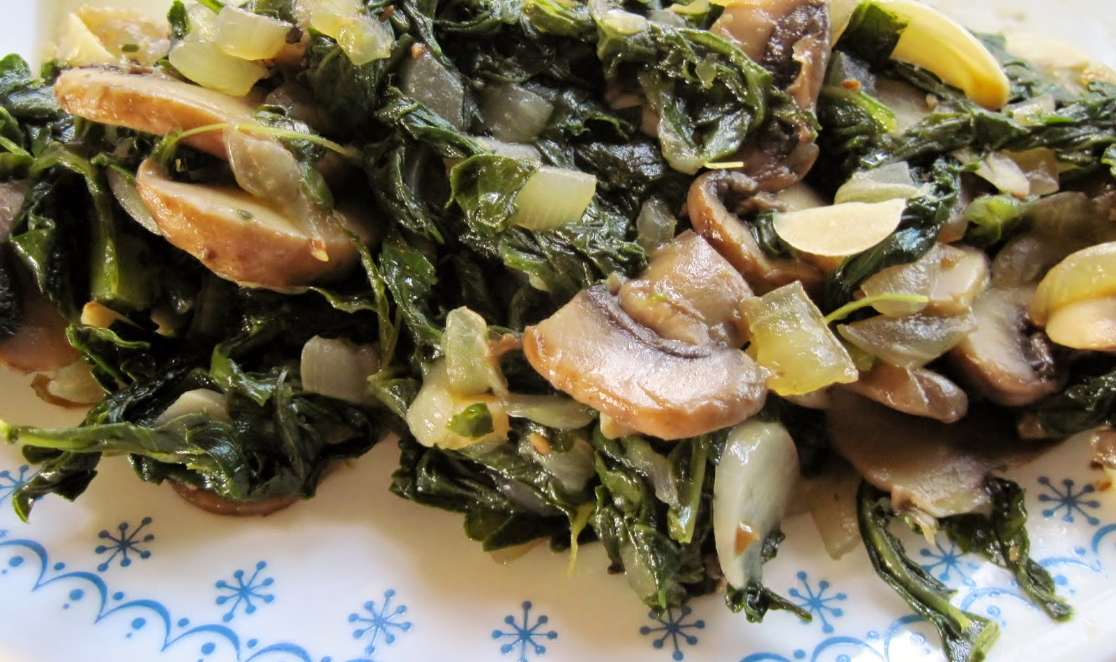 white kale with mushrooms