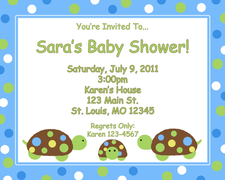 turtle baby shower invitations