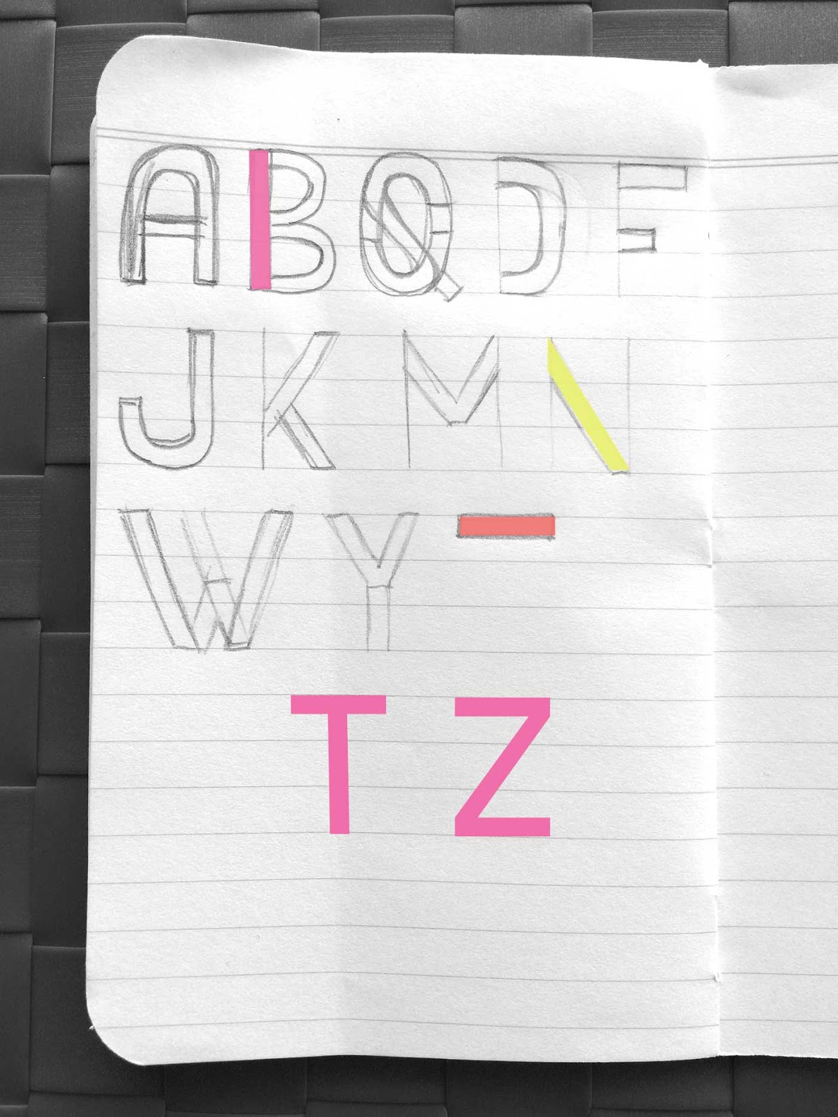 Drawing letters T and Z - Create a font with minimal sketching