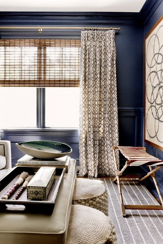 The peak of tr s chic color crush navy blue - Curtain ideas for blue walls ...