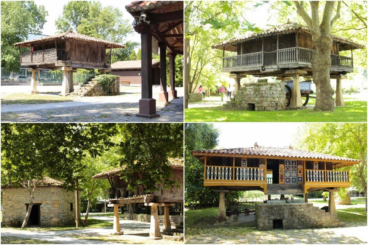 Horreos en el Museo del Pueblo de Asturias en Gijon