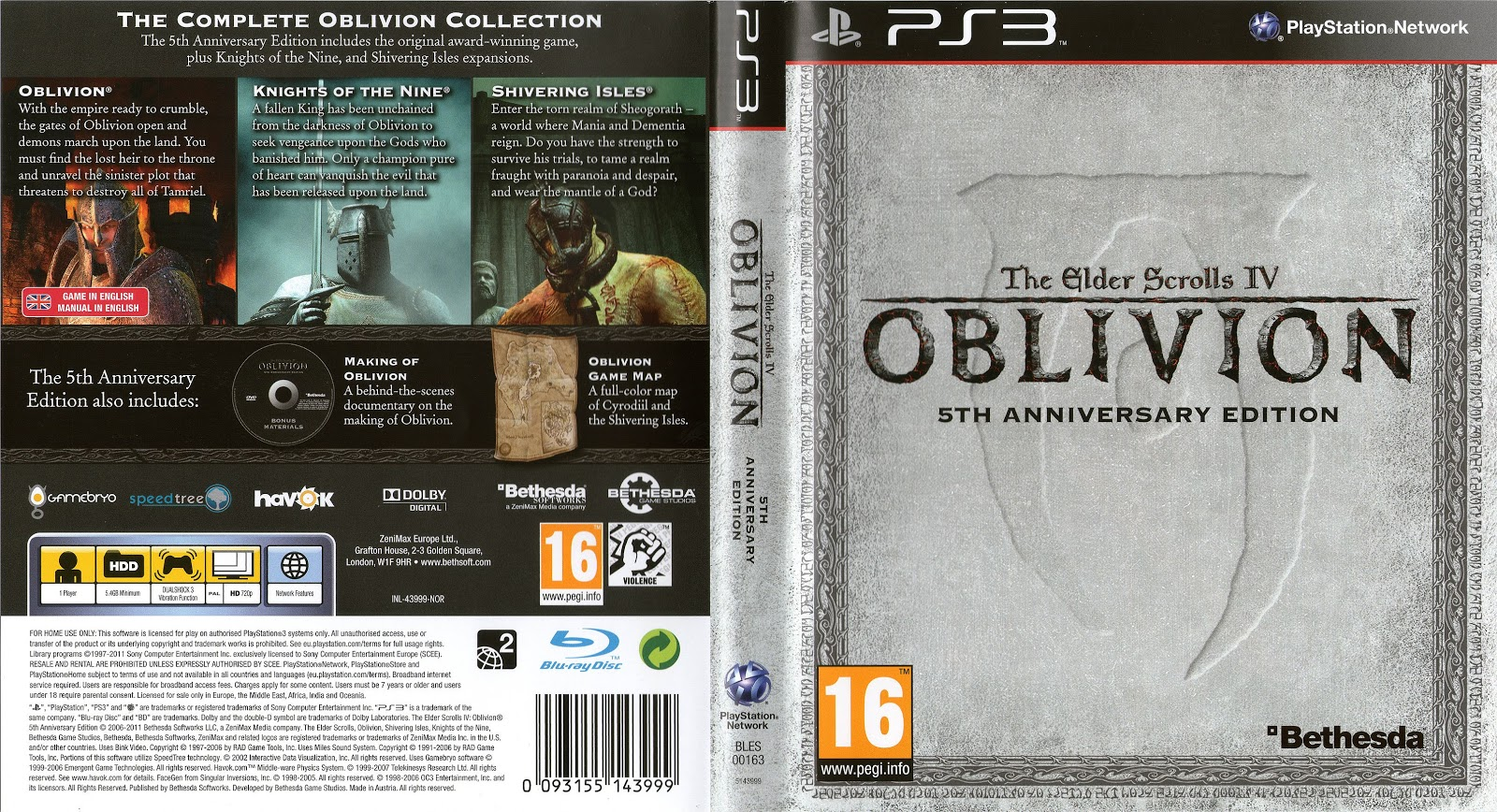 Capa The Elder Scrolls IV Oblivion PS3