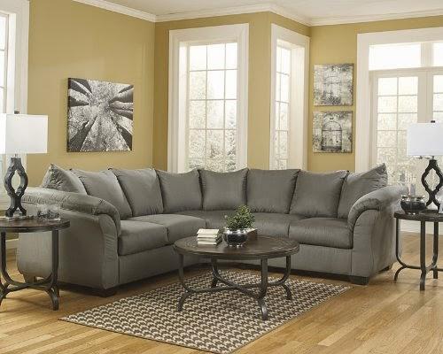 Flash Furniture Darcy Sectional Sofa, Cobblestone Fabric