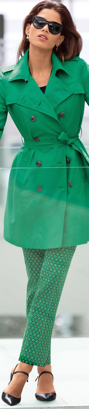 Madeleine Short Trench in Apple Green