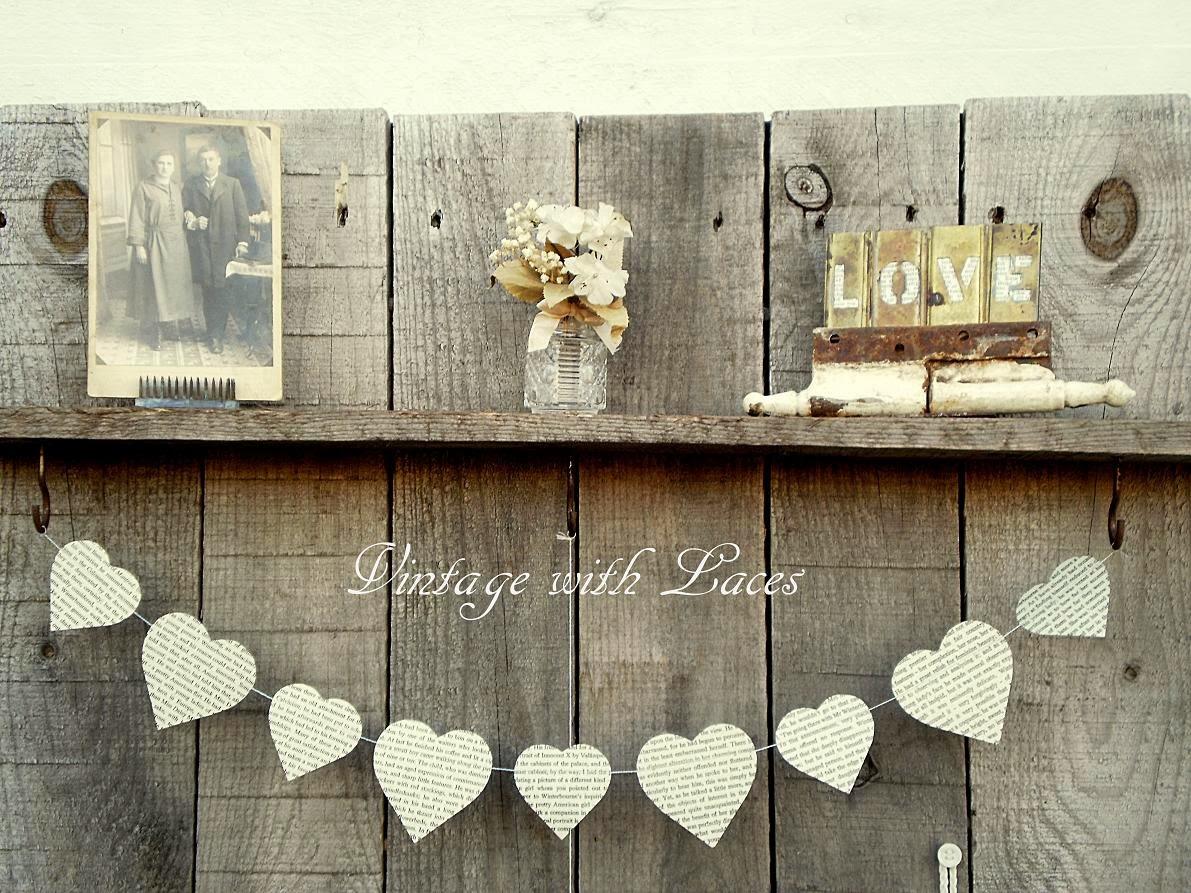 Valentine's Decor on Pallet Wood Shelf