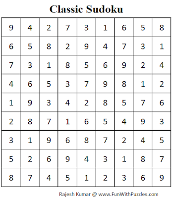 Classic Sudoku (Fun With Sudoku #70) Solution