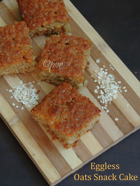 Eggless Oats Snack Cake, Eggless buttermilk oats cake