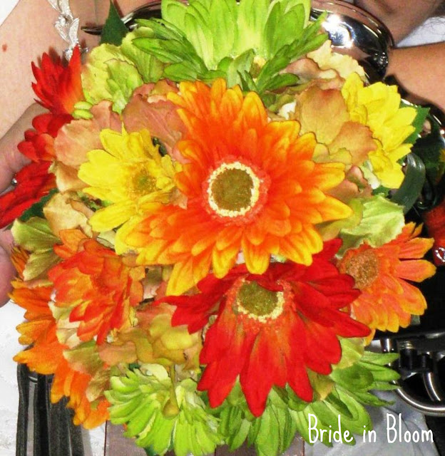 Autumn bridal bouquet gerbera dasiy wedding flower set