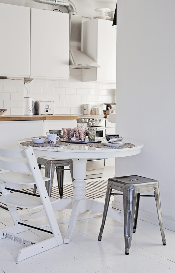 Scandinavian kitchen tolix stool