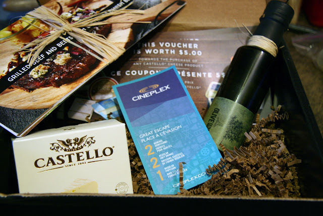 Castello giveaway for the movie burnt with olive oil, castello brie, tasting recipes and castello cheese vouchers in a box.