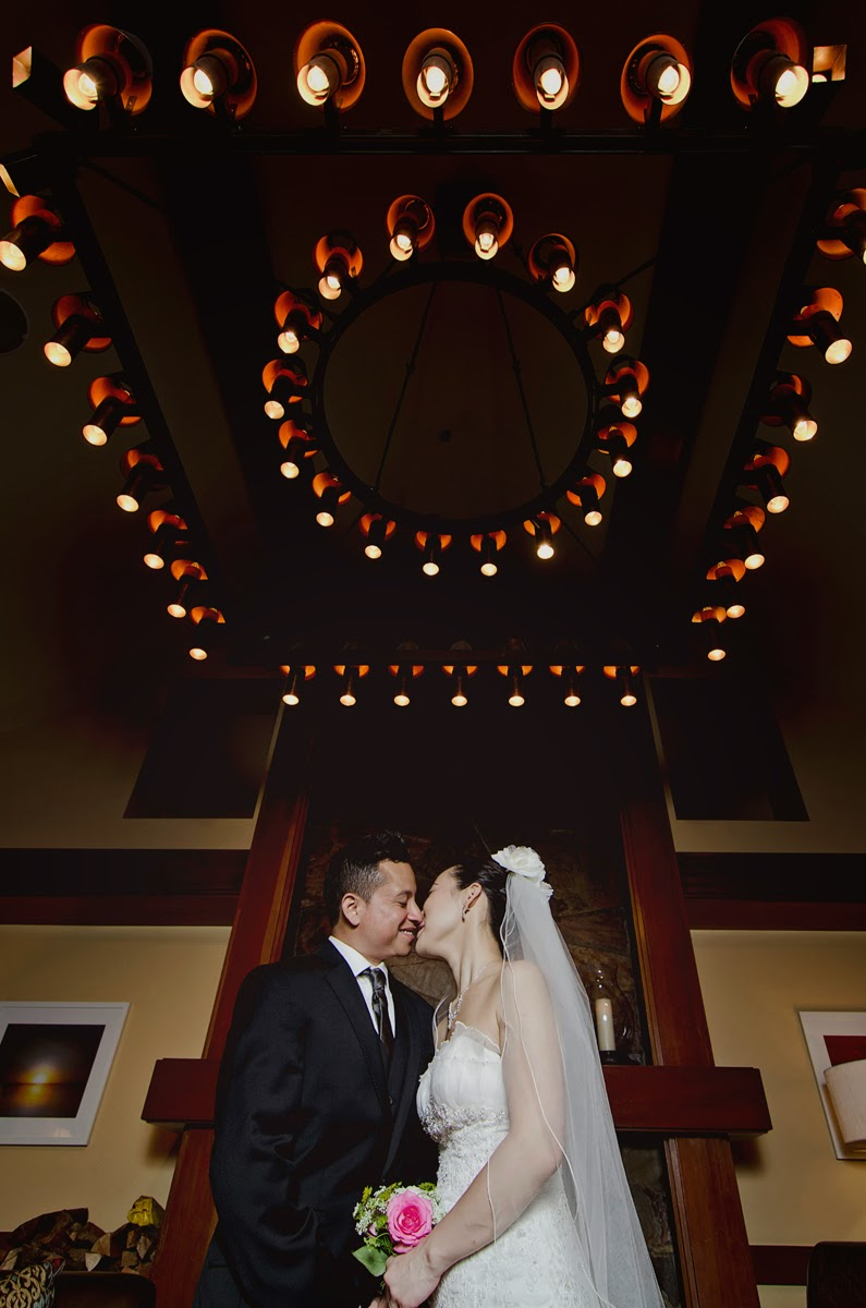 Wedding photo of Luis and Miki at the Library at the Salish Lodge & Spa - Kent buttars, Seattle Wedding Officiant