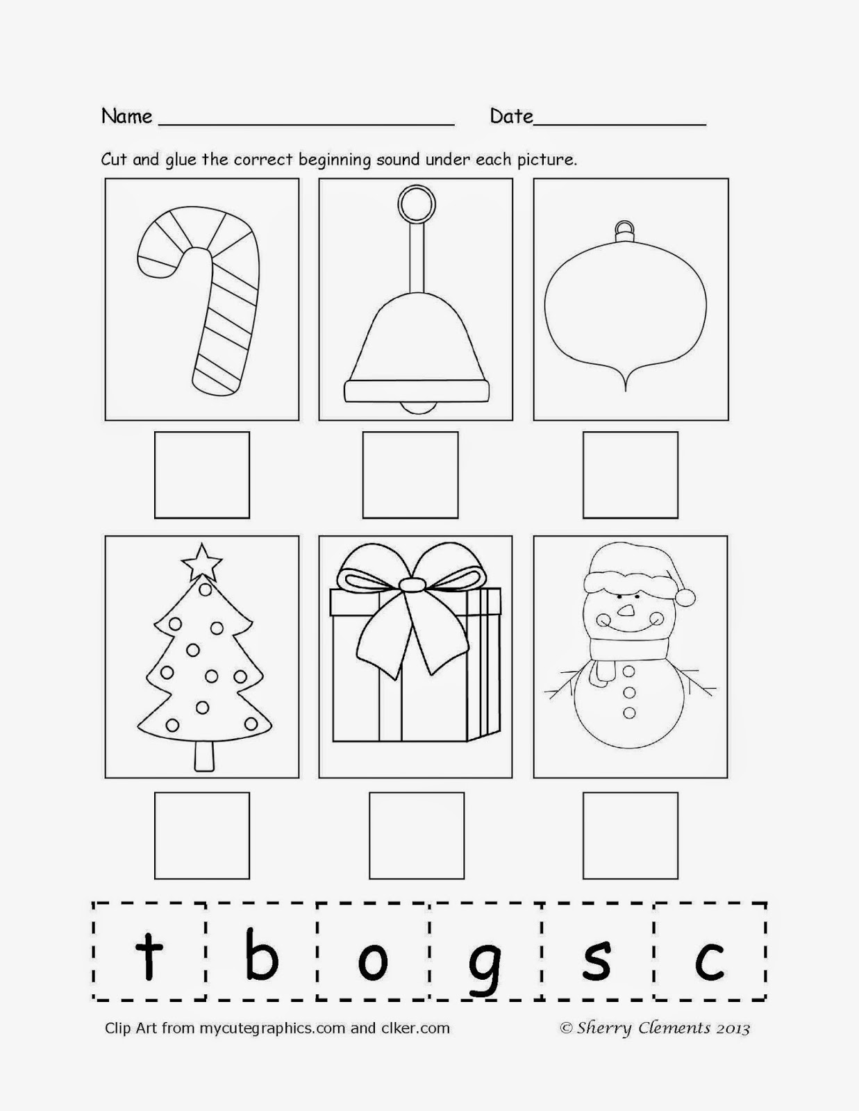 http://www.teacherspayteachers.com/Product/Beginning-Sounds-December-966451