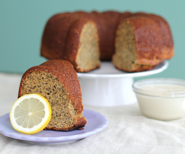 Healthy Lemon Poppyseed Cake with White Icing