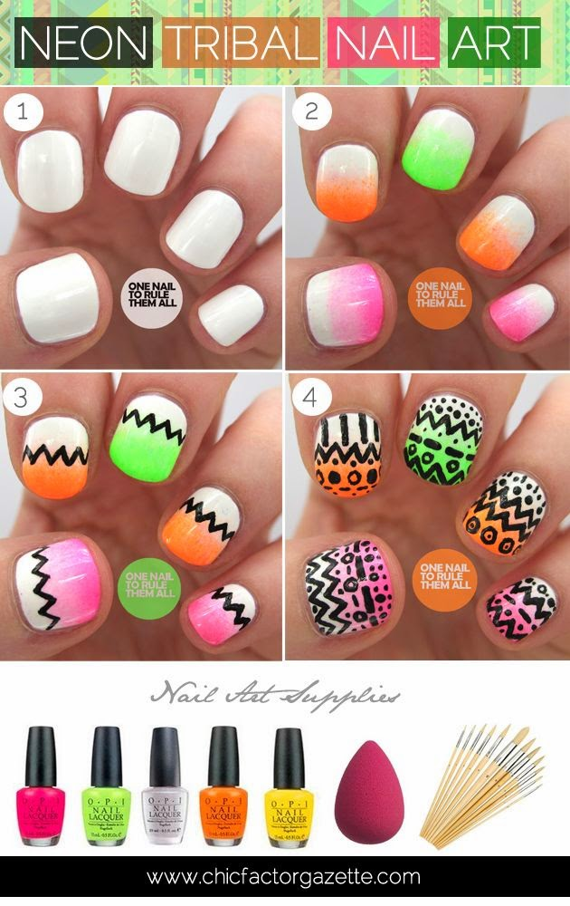 DIY Tribal Nail Art Tutorial  Aztec Nailart, Neon Tribal Nail Art Tutorial, Easy Nail Art Tutorials