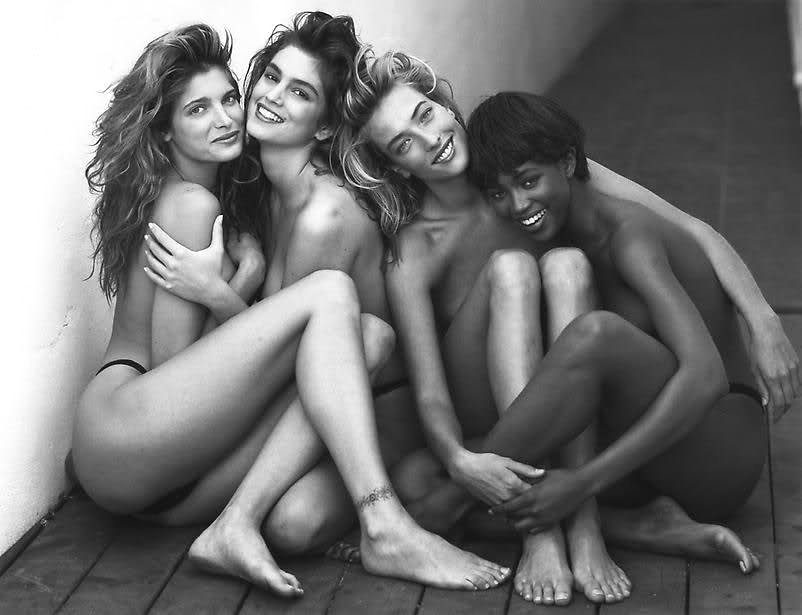Stephanie Seymour, Cindy Crawford, Tatjana Patitz & Naomi Campbell photographed by Herb Ritts in 1989 / supermodels of the 90s / via fashionedbylove.co.uk british fashion blog