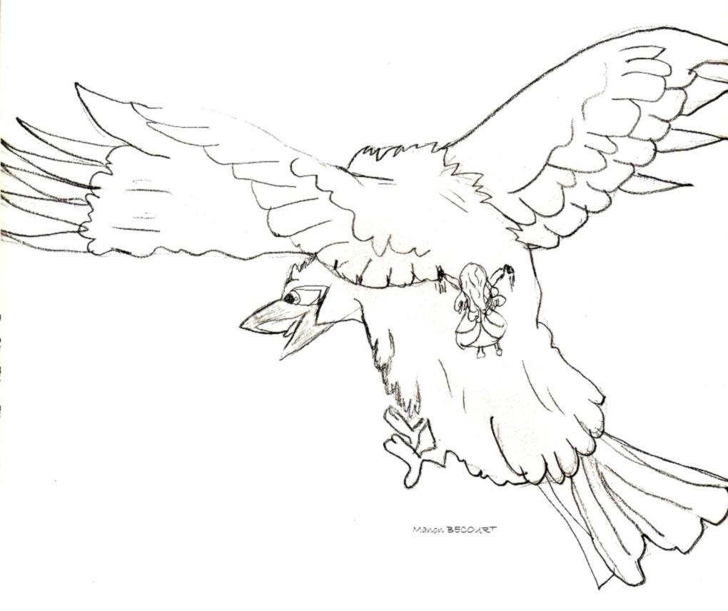 Dessin de coloriage de corbeau - Coloriage corbeau ...