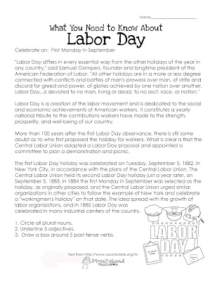 Free Printable Labor Day Worksheets Best Holiday Pictures